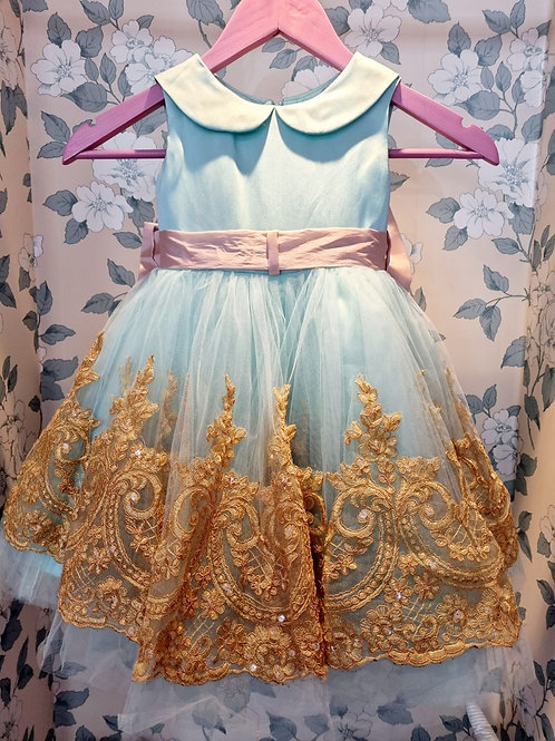 Blue and Gold Delight Caroline Dress