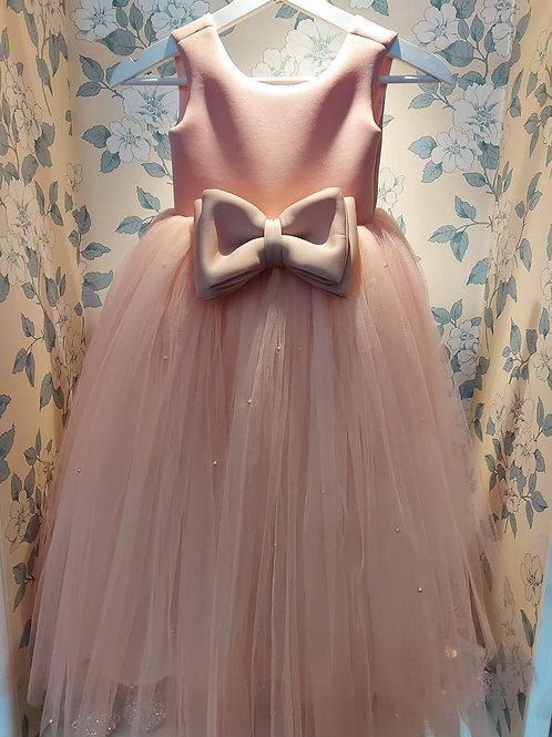 Pink Bow Tiana Princess Dress with Pearls