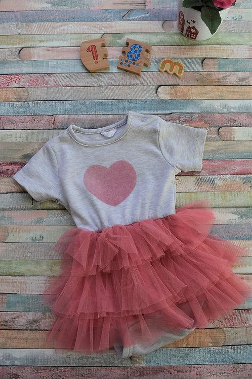 Pink Heart Tutu Bodysuit 12-18 Months
