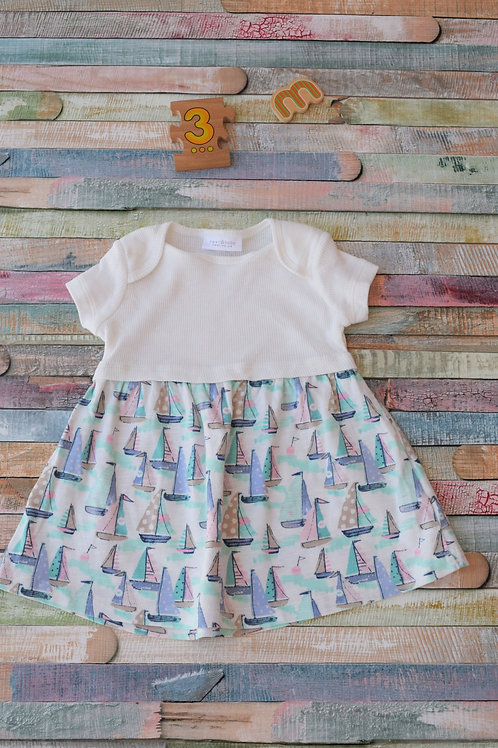 Ships Cotton Dress 0-3 Months Old