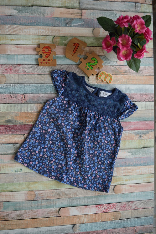 Blue and Pink Flowers Cotton By F&F