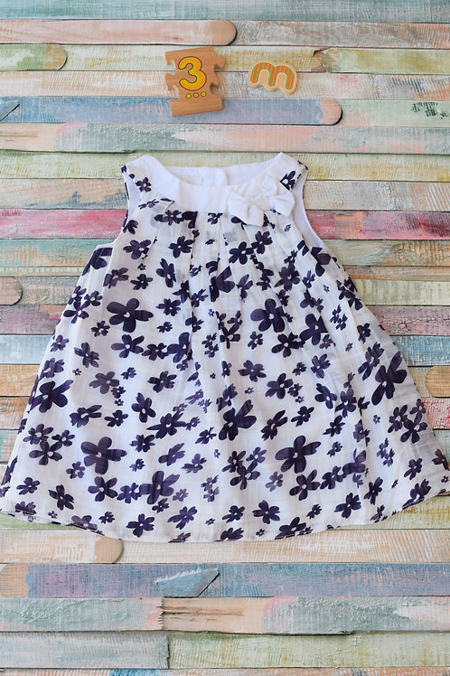 Debenhams Blue Flower Dress 0-3 Months Old