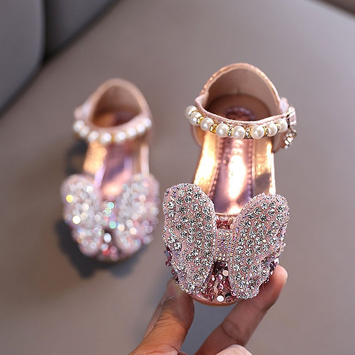 Butterfly Sparkly Pink Flat Shoes
