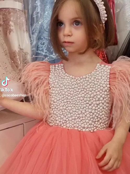 Pearls Peach Beatrice Dress