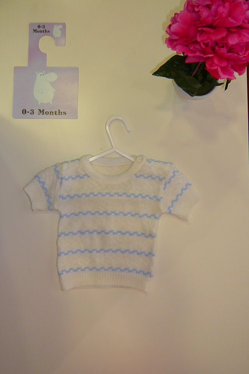 Knitted With Blue Lines
