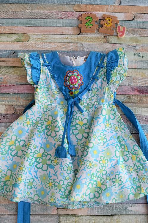 Blue Flower Dress 2-3 Years Old