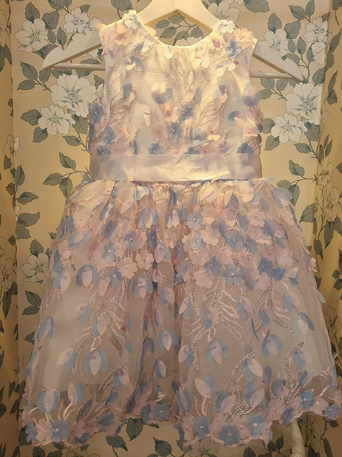 Blue and Pink Flowers Annabelle Princess Dress