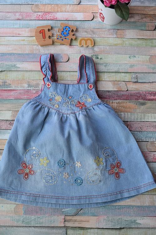 Jeans Flower Dress 12-18 Months Old