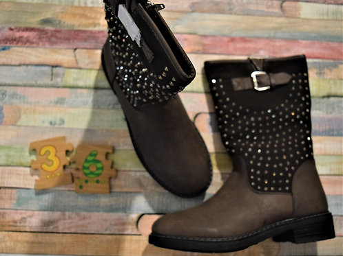 Grey Sparkly Leather Boots Size 36