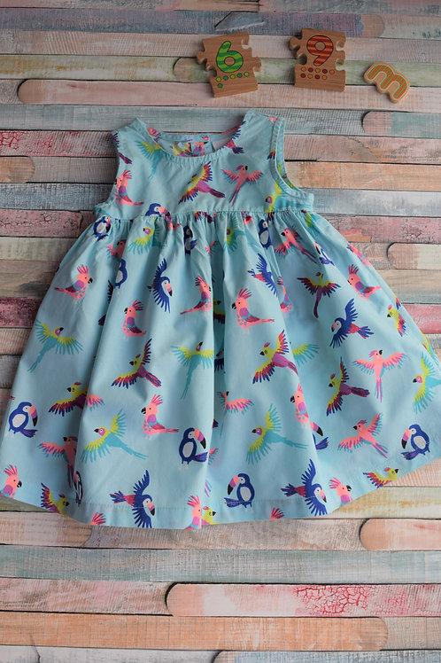 Blue Parrot Dress 6-9 Months Old