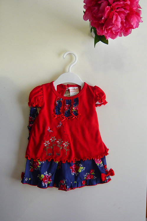 Red Blouse with Blue Skirt Dress