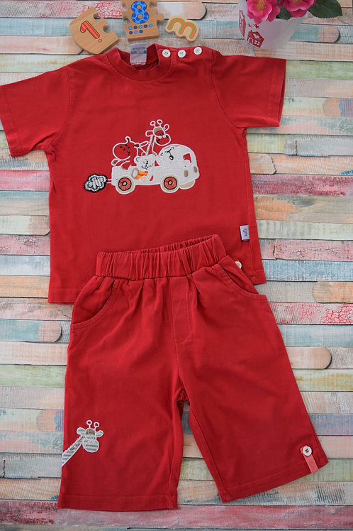 Red Giraffe Set 12-18 Months