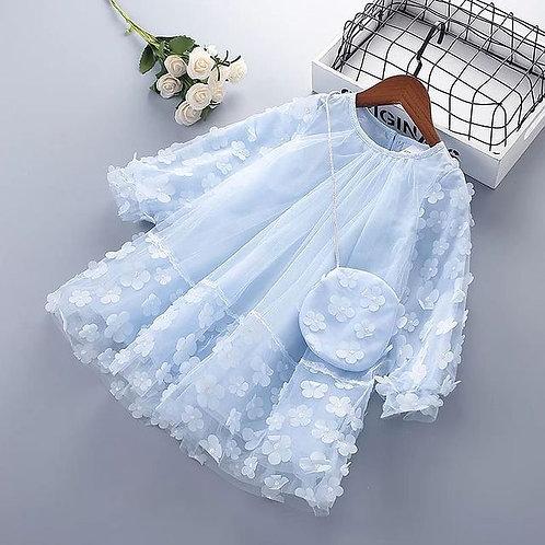 Blue Flower Dress with Matching Handbag