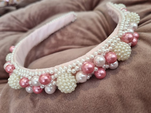 Pink Pearls Headband 2 Colors Hand Made
