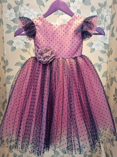 Blue and Pink Polka Dot Isabella Dress