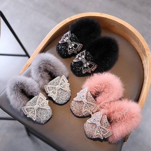 Sparkly Fur Princess Slippers