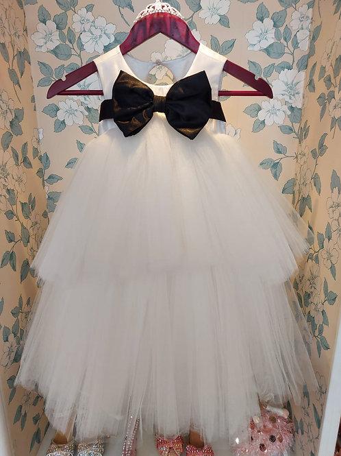 White Jasmine  Princess Dress with Removable Black Bow Belt