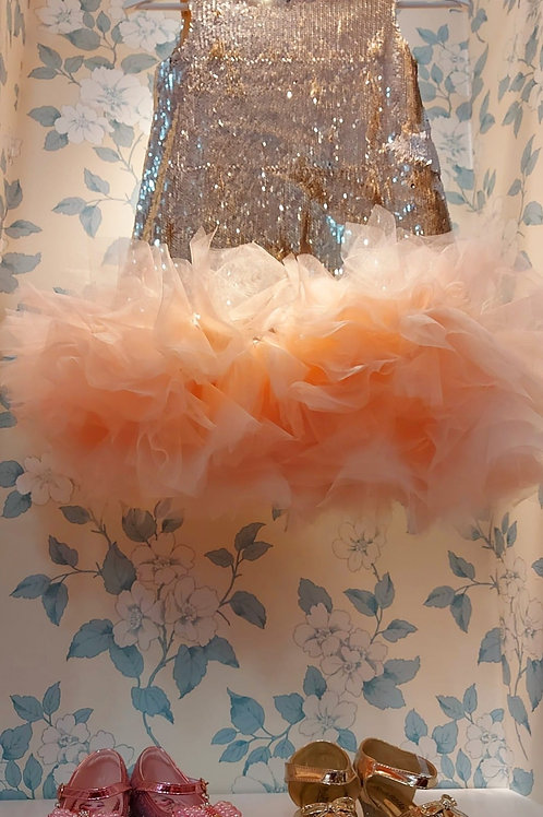 Gorgeous Gold Sequin Dress with Pink Tulle by EVZ Design in Ukraine