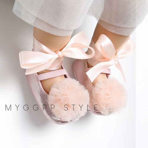 Baby Pink Sparkly Bow Shoes