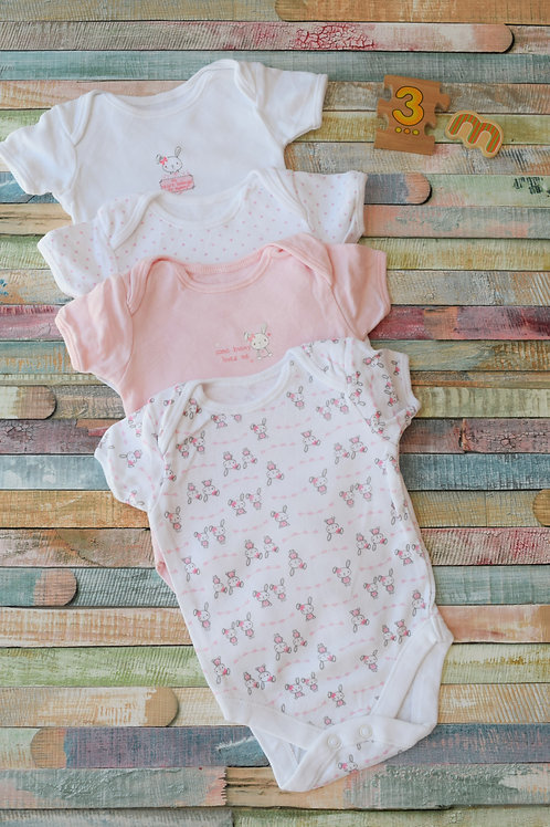 4 Bunny Bodysuits Shortsleeve 0-3 Months Old
