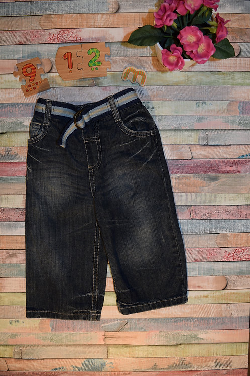 Dark Blue Summer Jeans With Belt