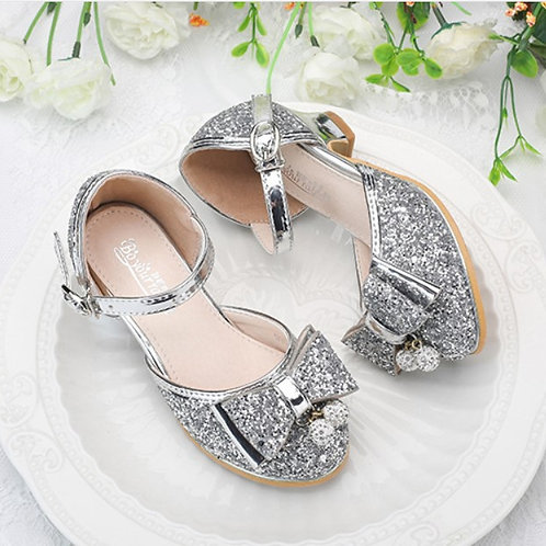 Silver Sparkly Princess Shoes  with Ribbon for Girls