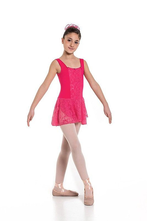 Girls Tank Ballet Leotard Lace Front and Lace Skirt