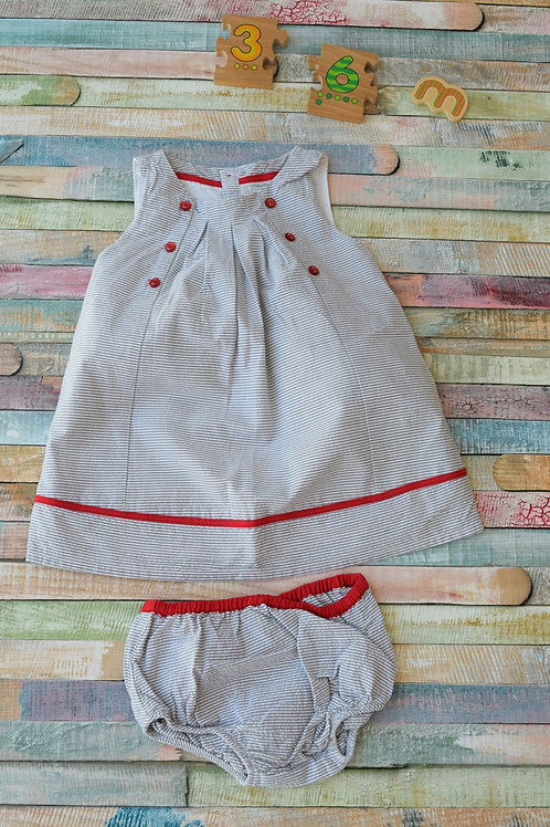 Obaibi Red Stripes Dress 3-6 Months Old