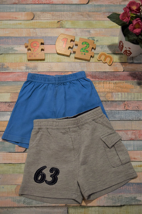 Cotton Shorts Blue and Grey 9-12 Months Set