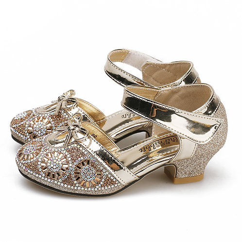Gold Party Shoes with Heel