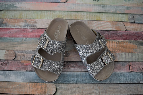 Bubble Bobble White Sparkly Summer Sandals