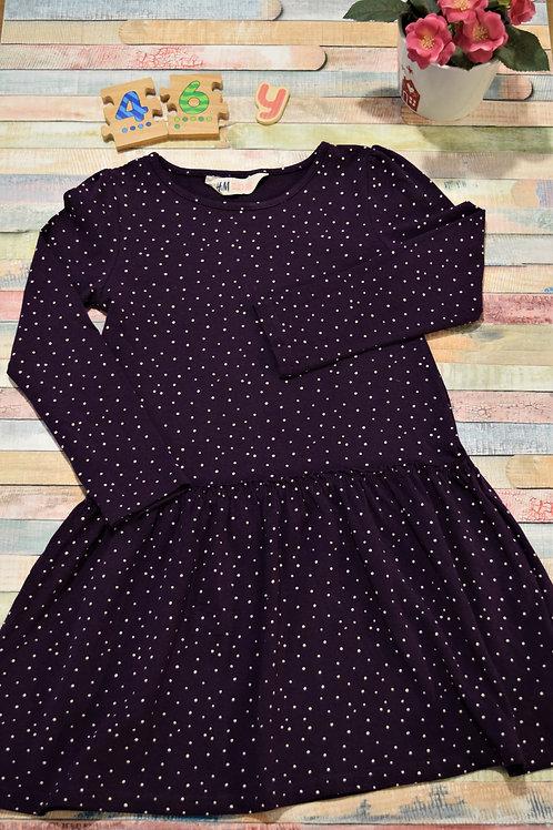 Dots Purple Dress 4-6 Years Old