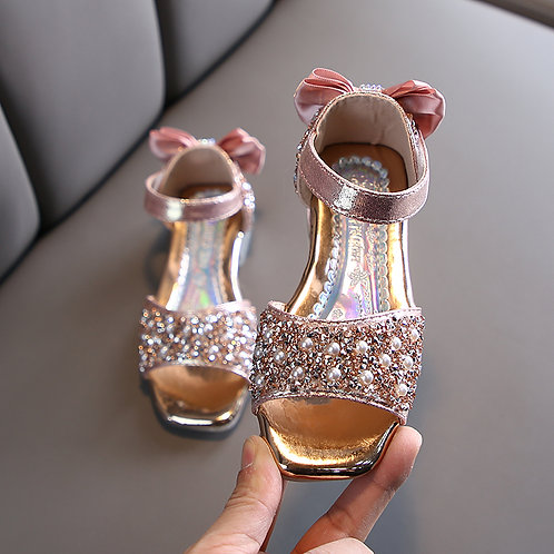 Pearls Pink Sparkly Heel Shoes