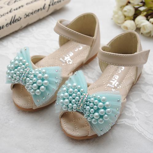 Blue Pearls Flat Sandals