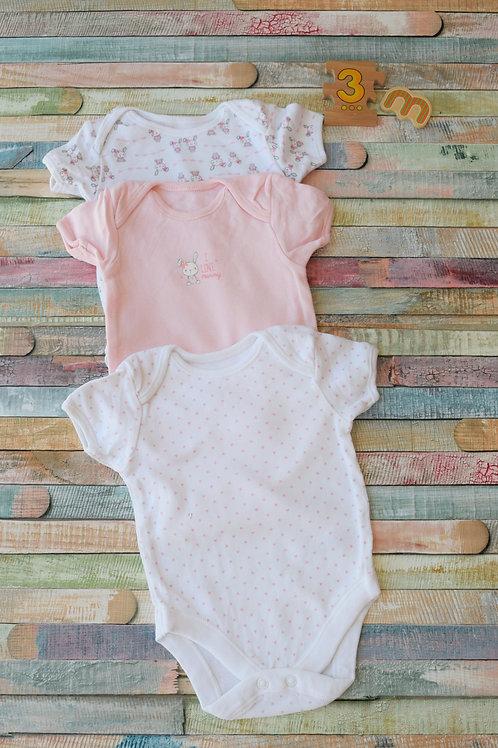 3 Bunny Bodysuits Shortsleeve 0-3 Months Old
