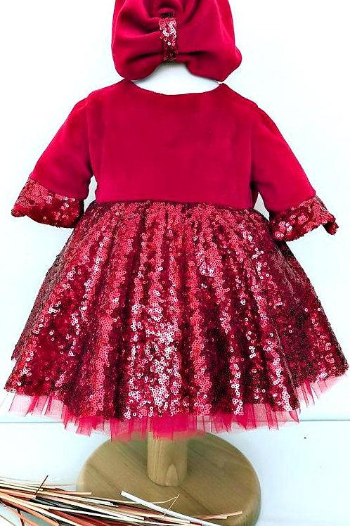 Velvet Red Dress For Girls