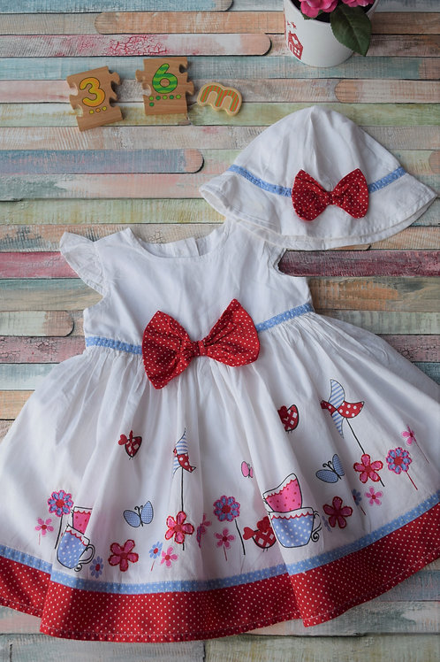 Pretty Dress with Matching Hat 3-6 Months Old