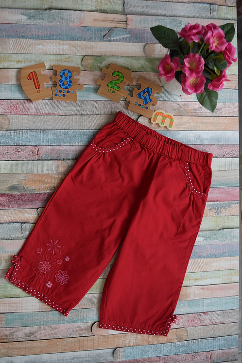 Cotton Red Summer Trousers