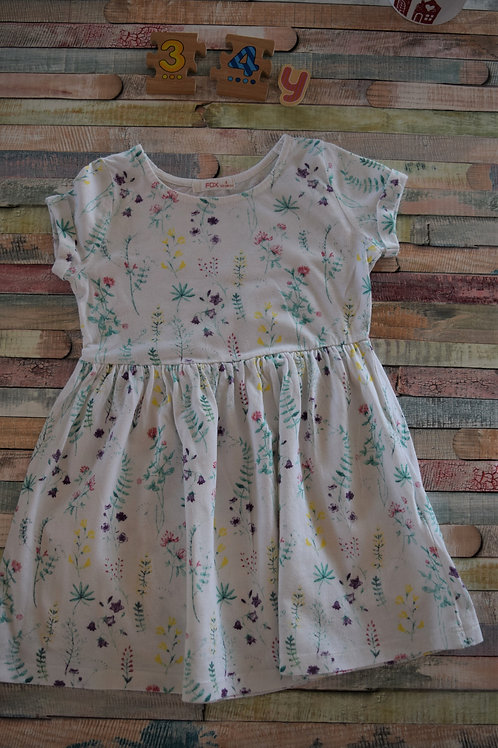Fox Flower Cotton Dress 3-4 Years Old