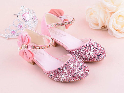 Sparkly Princess Shoes with Ribbon and Heel