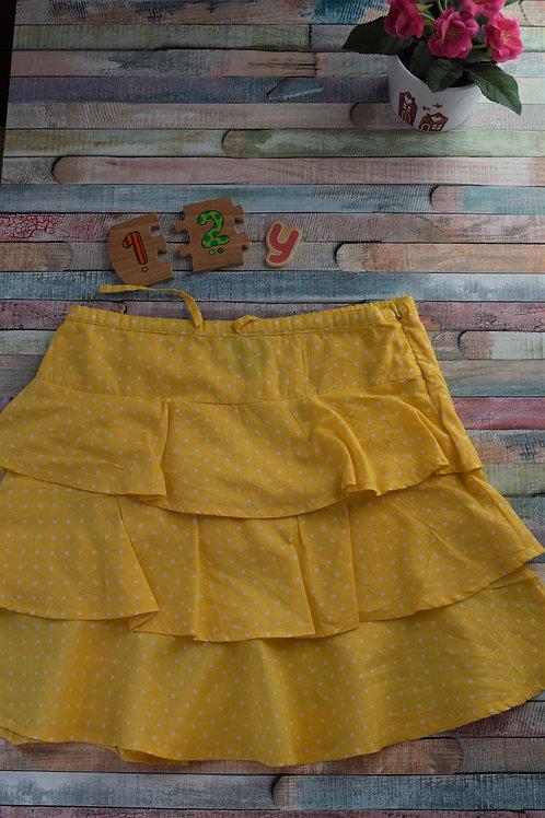 Cotton Polka Dot Yellow Skirt
