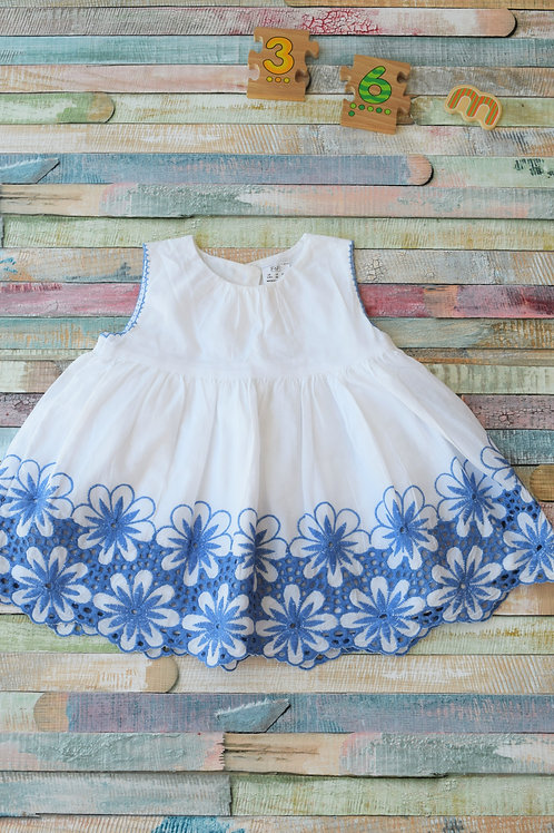 White and Blue Dress 3-6 Months Old