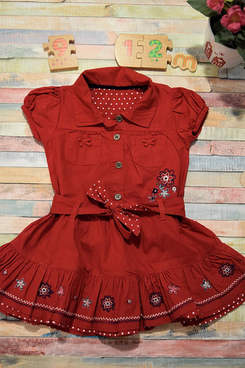 Chic Red Dress 9-12 Months