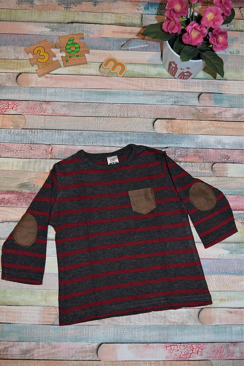 Red Grey and Brown Pocket Blouse