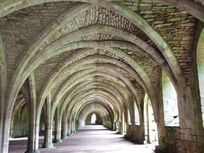 Cellarium in Fountains Abbey, near Ripon, UK.