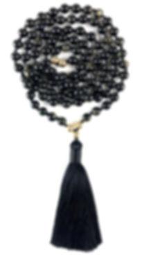 Mala, Malabeads, Mala Necklace. Meditation, Obsidian & Gold. Les Ateliers de Brahma.