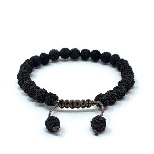 "Bracelet ""Rudraksha noir"" noué"