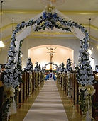 blue silk flower church decoration