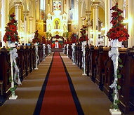 Red silk flower church decoration
