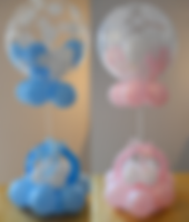 Balloon baby rattle centerpiece